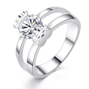 Cute Bear Cubic Zircon Engagement Ring